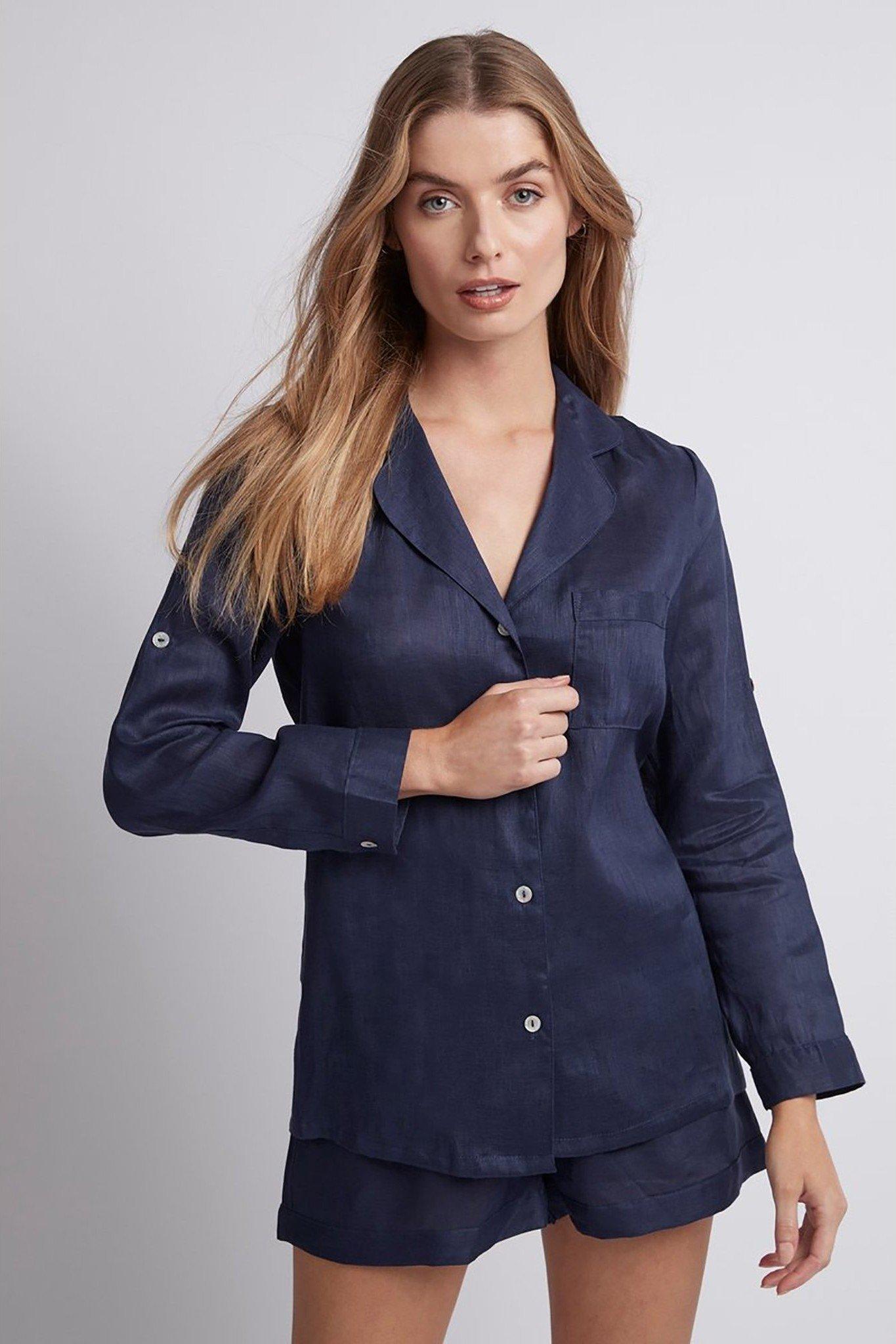 pyjama vải linen xanh dương