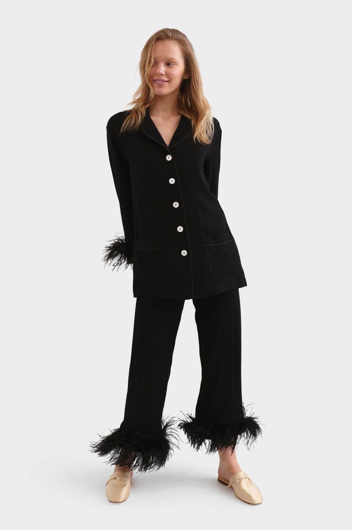 pyjama lụa đen