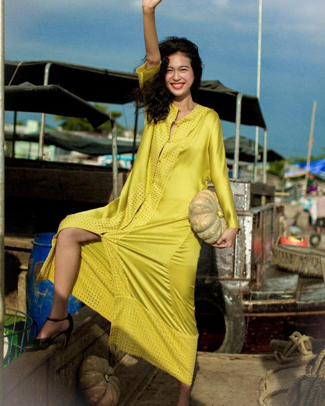 đầm lụa vàng lam boutique