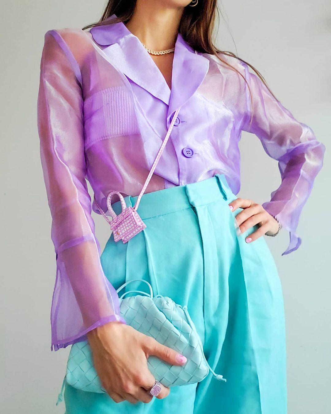 áo organza màu tím lilac