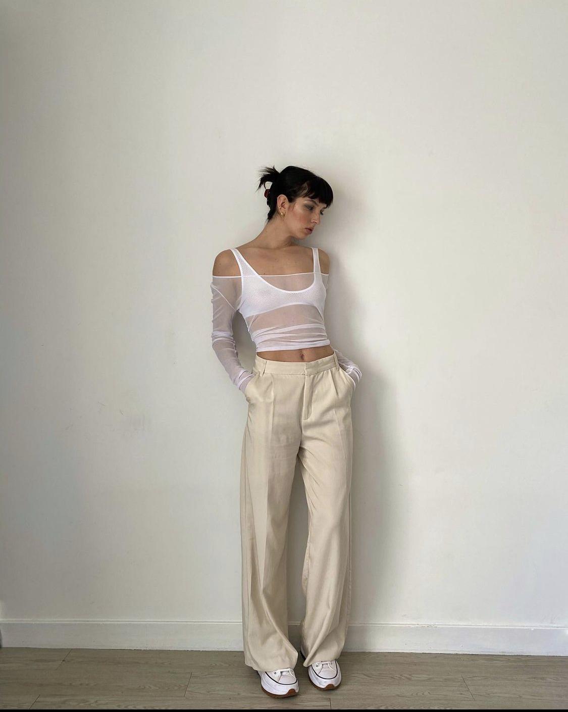 áo mesh hở vai trắng