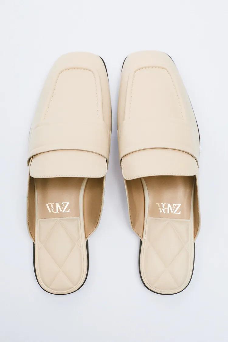 Zara giày mule trắng đế thấp