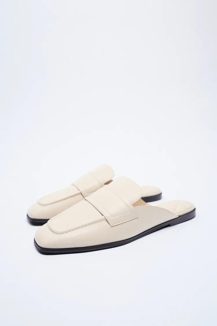 Zara giày lười trắng đế thấp