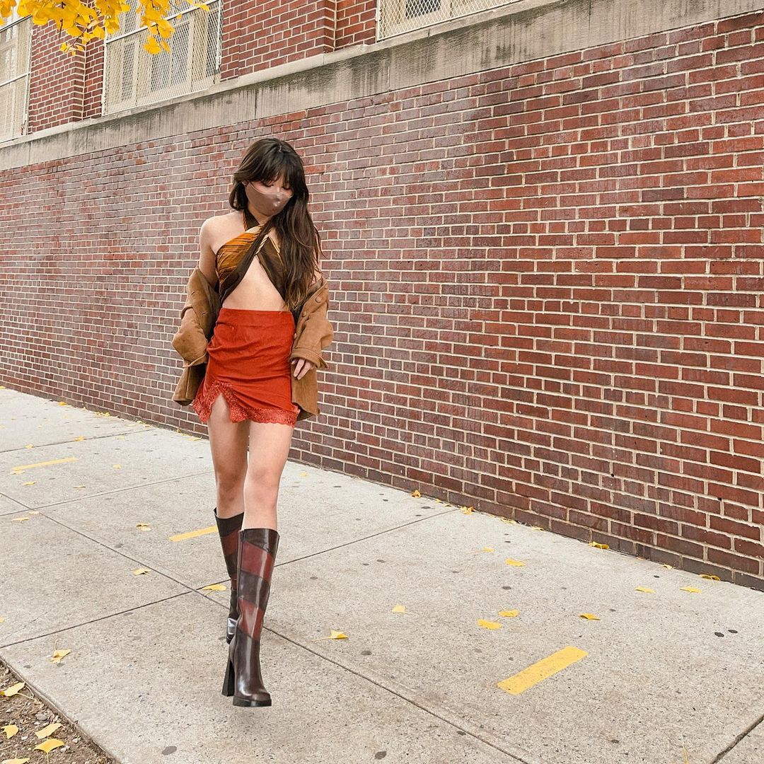 chân váy mini boots da cổ cao