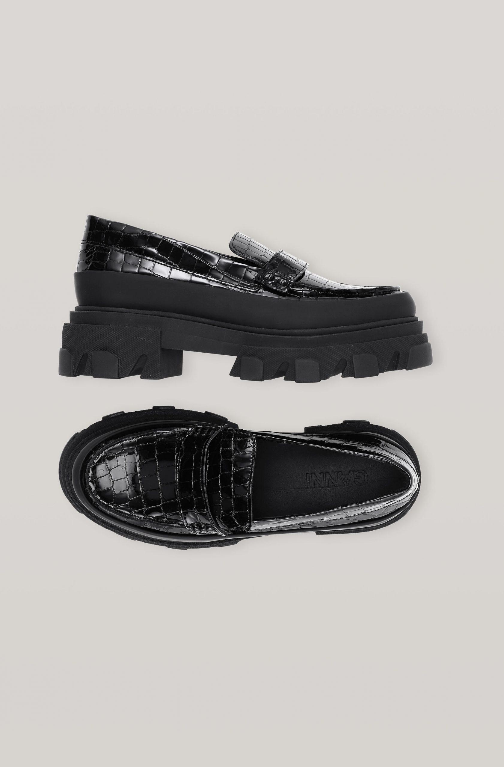 giày lười chunky da cá sấu
