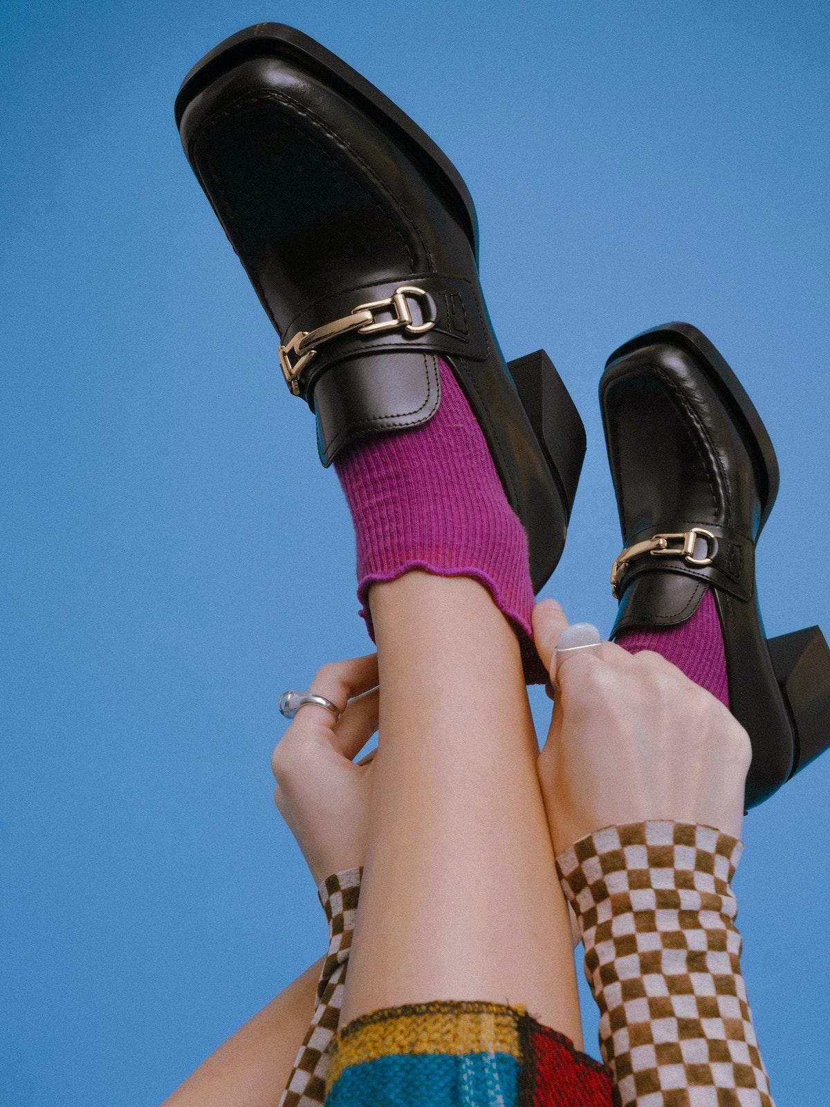 Loafers heeled mũi vuông