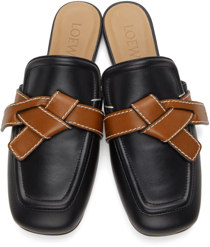 Giày lười mule loewe màu đen