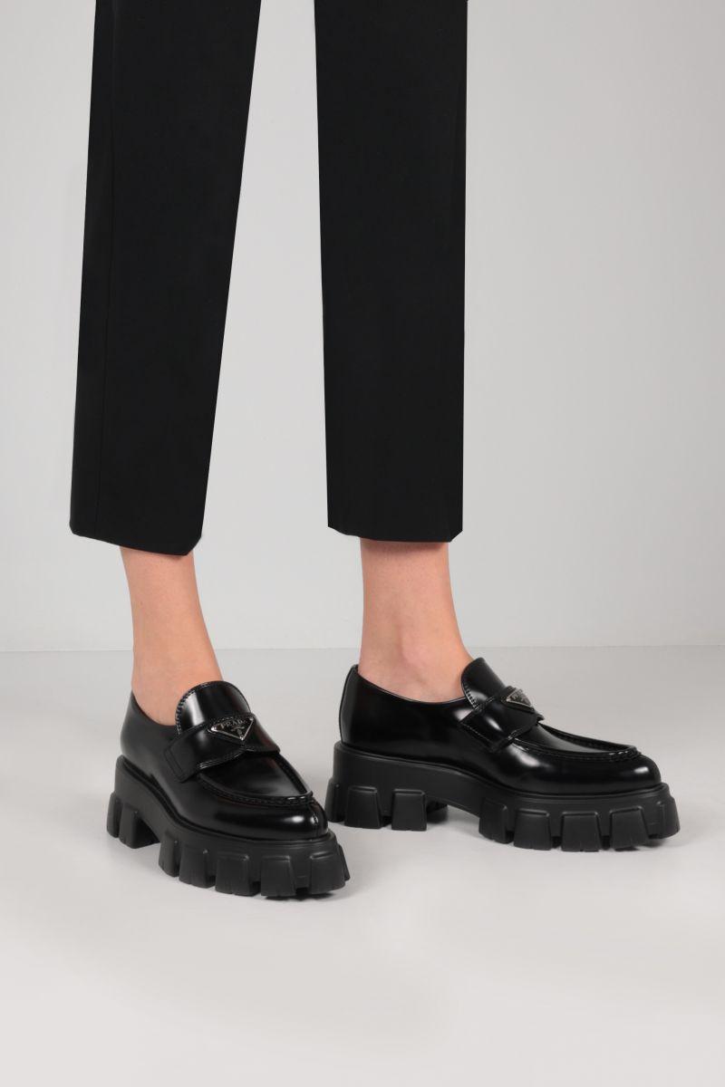 Prada monolith black loafers