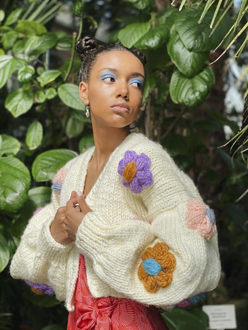 áo cardigan len đan móc tay phồng