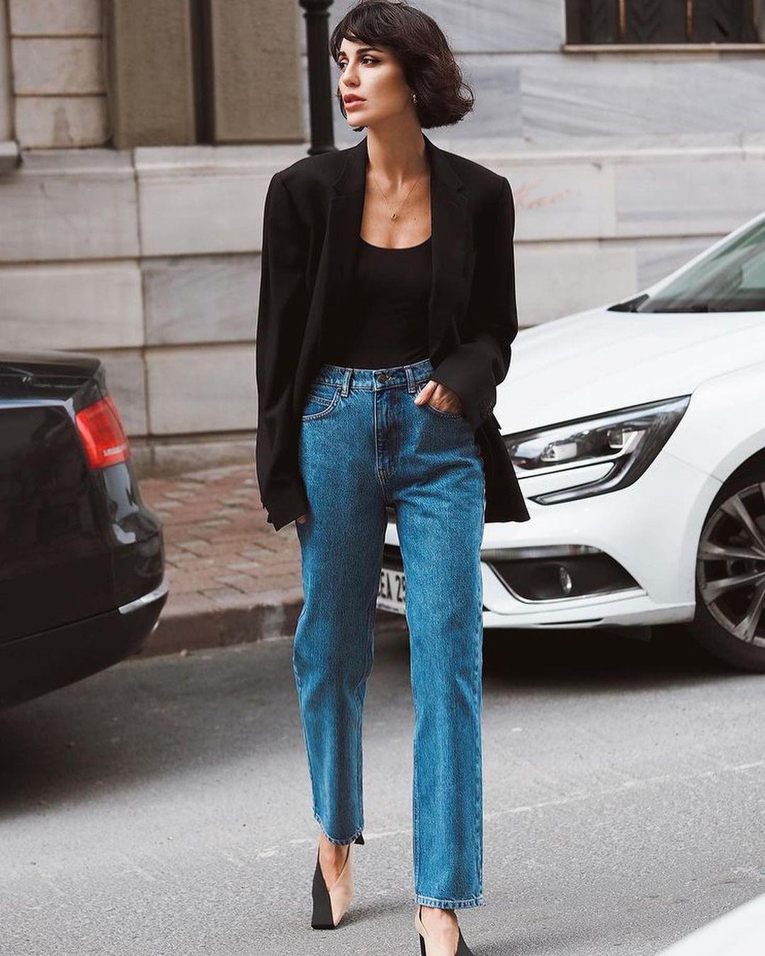Áo blazer phối jeans thời trang