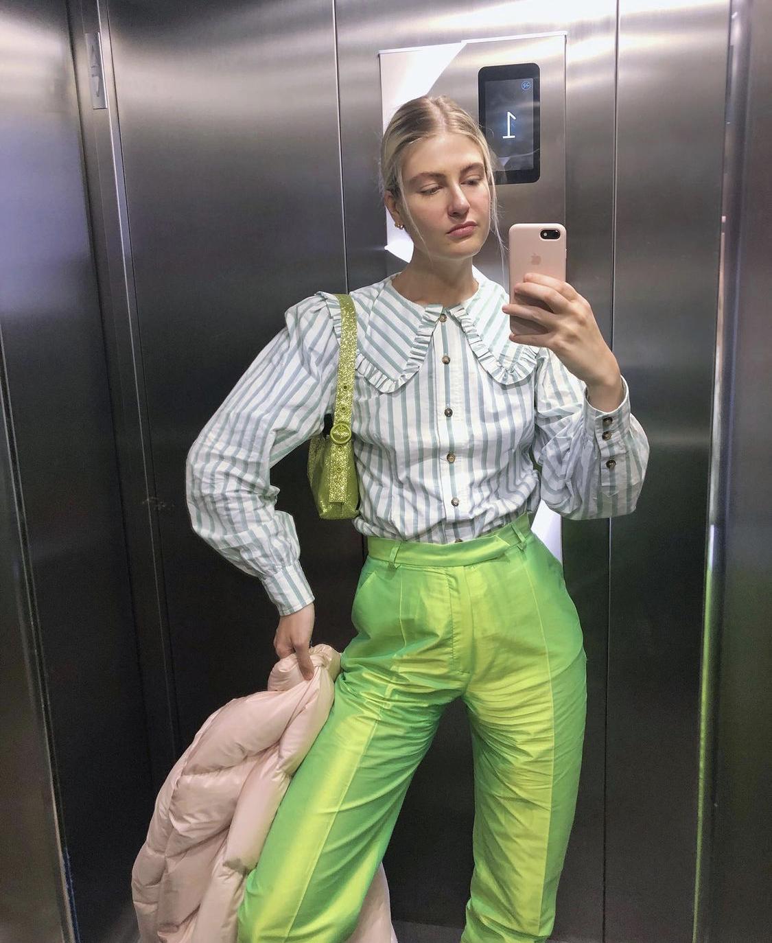 áo cổ peter pan thời trang kẻ sọc