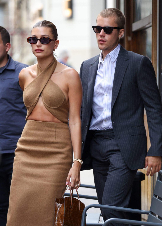 Hailey Bieber with her husband at Paris Fashion Week