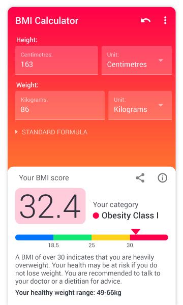 Ứng dụng BMI Calculator.