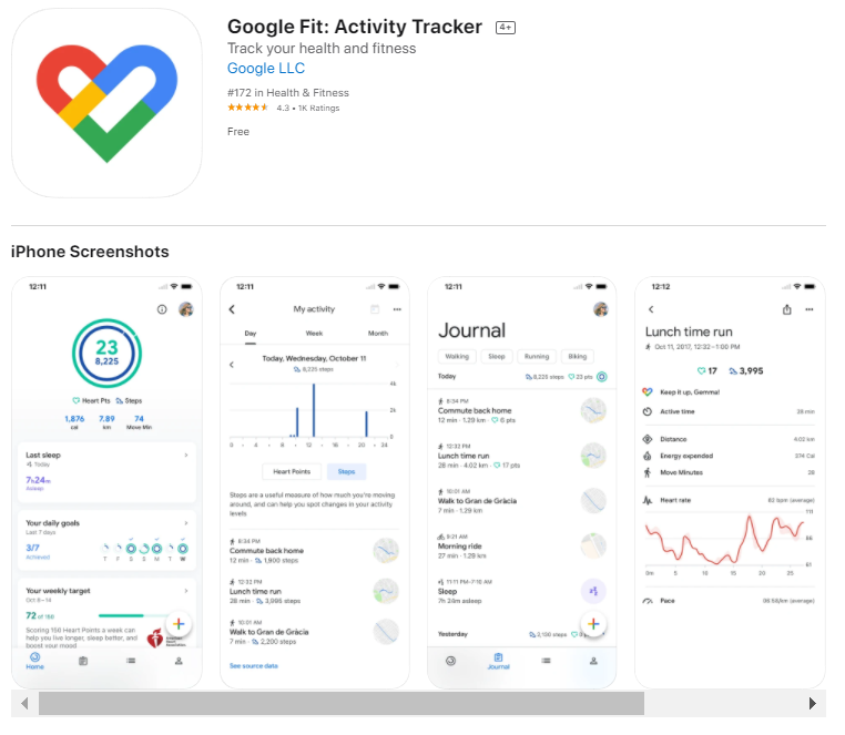 Ứng dụng Google Fit .