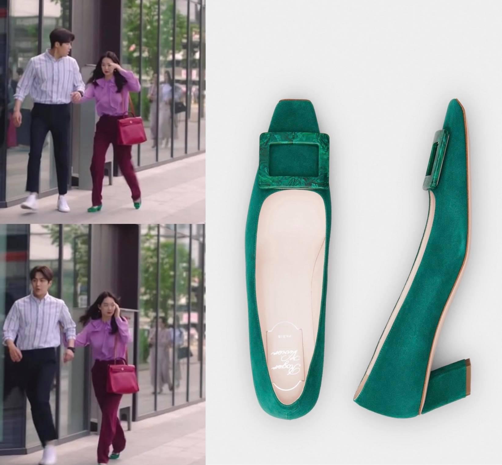 giày roger vivier xanh lá