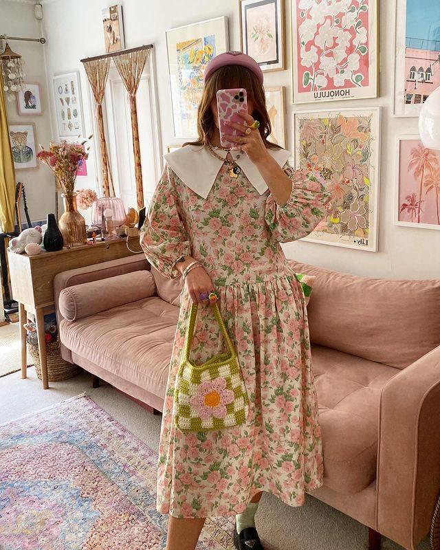 Autumn fashion floral dress