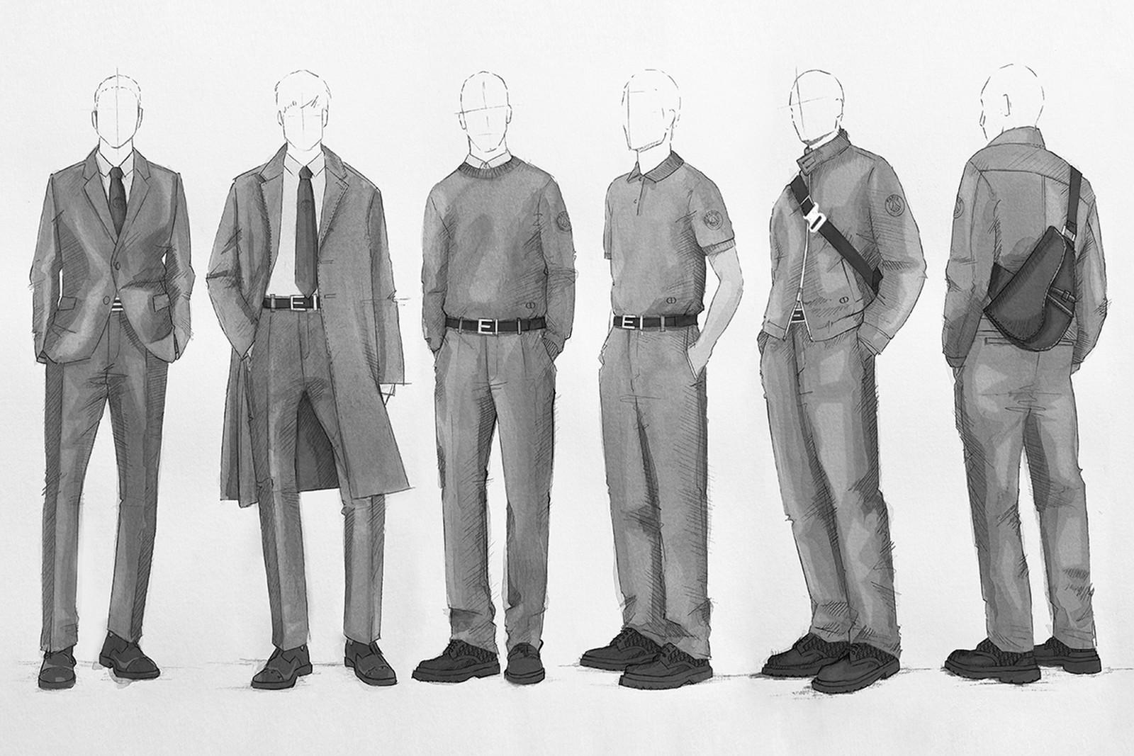 Dior x PSG fashion sketch