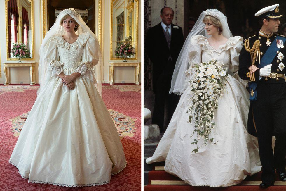 váy cưới của công nương diana trong the crown