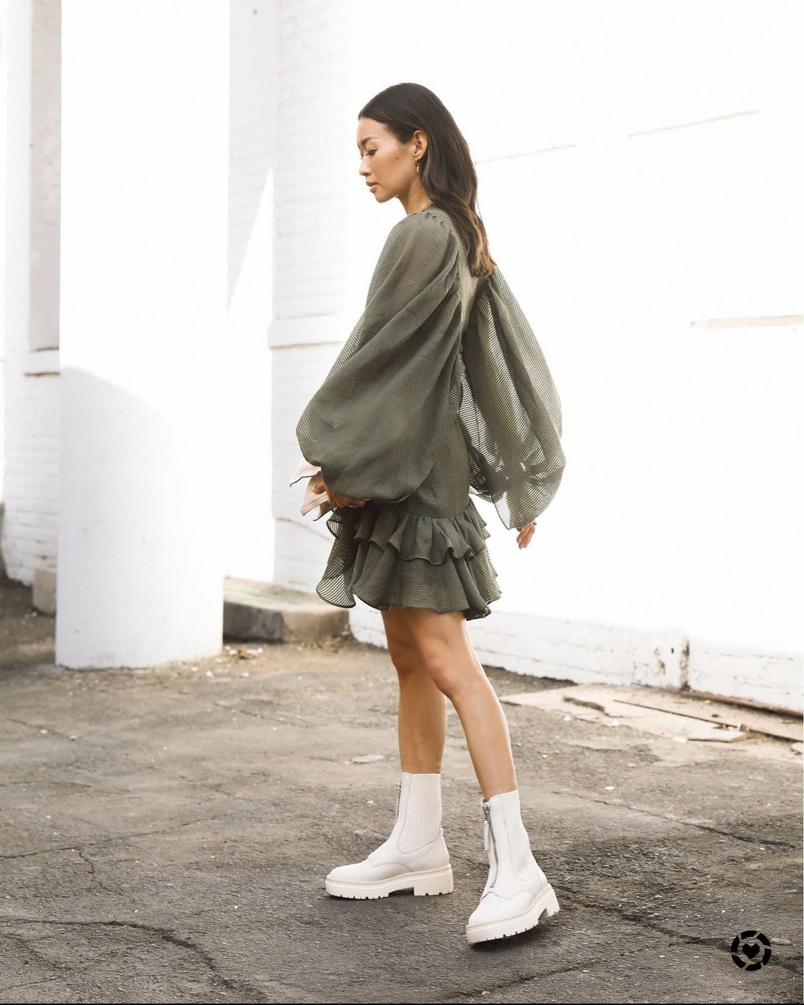 ankle boots trắng