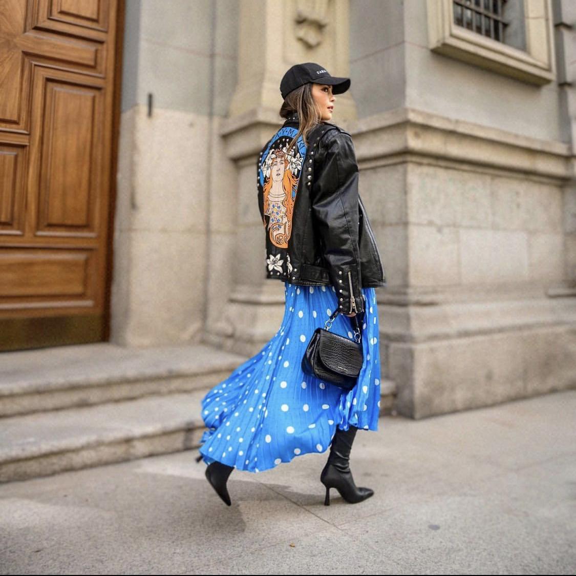 Áo khoác da váy maxi thời trang