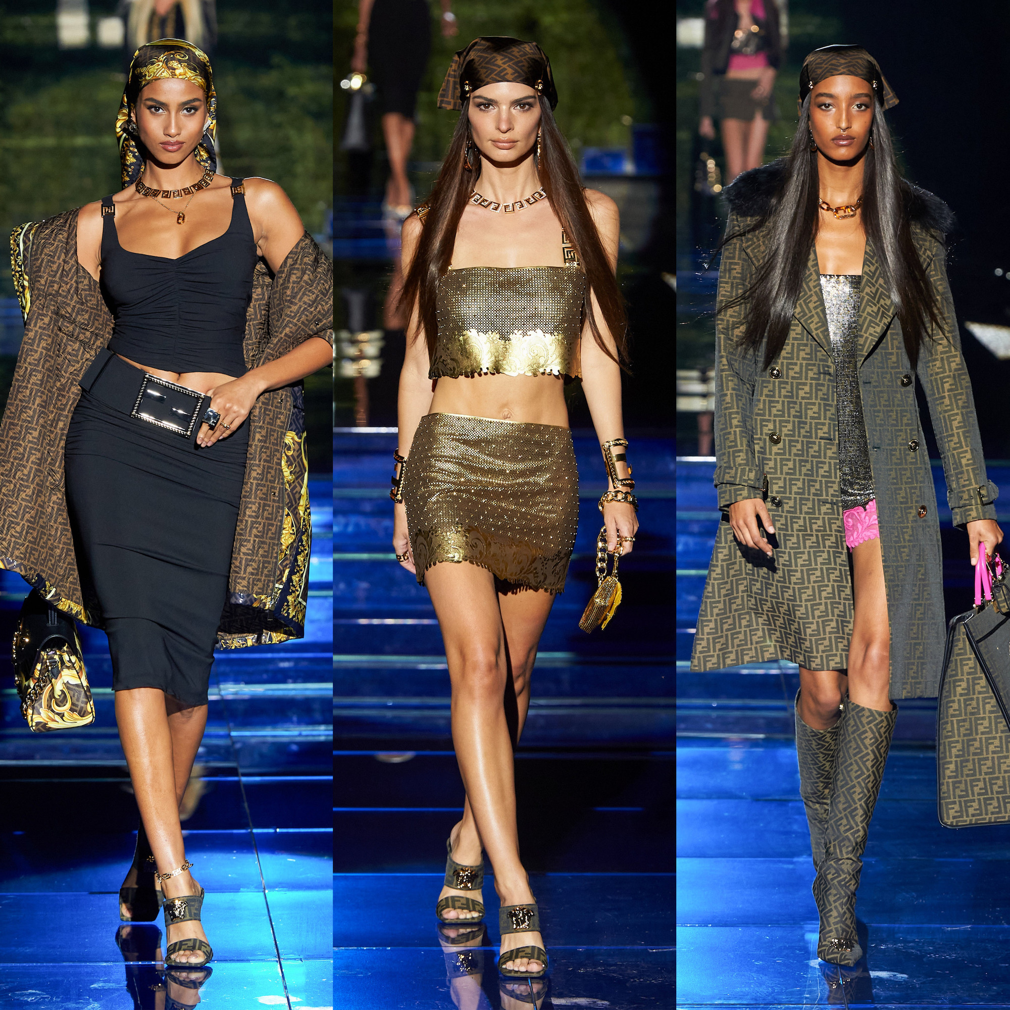 phụ kiện khăn lụa Fendi by Versace at Milan fashion week 2022